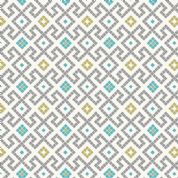 Lewis & Irene - Lindos - 5860 - Tile Inspired Geometric, Grey, on White - A267.1 - Cotton Fabric